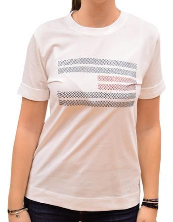0af5b3ce013b TOMMY HILFIGER WOMAN TYARA C-NECK TEE T-SHIRT CLASSIC WHITE FLAG BLING