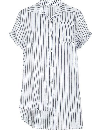 Ριγέ λινό πουκάμισο με ασυμμετρία SD7840.3229+1 8e8b83c7fa6