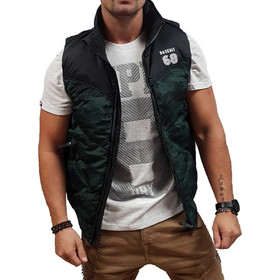 233aa16586d0 Basehit Fake Down Quilted Vest Jacket 182.BM10.135-Forest-Black