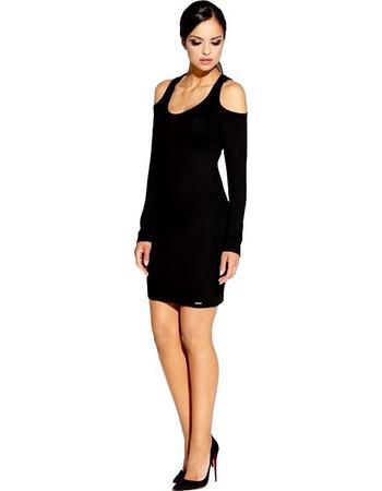 60007 DR Ελαστικό μίνι φόρεμα με γυμνούς ώμους-Μαύρο 3a0a6a3a541