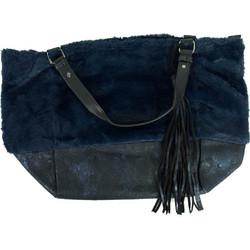 6e49034691c Γυναικεία μπλε γούνινη τσάντα ώμου κρόκο σχέδιο PF567G