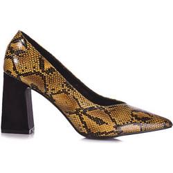 Γόβες κίτρινες φίδι δερματίνη με χοντρό τακούνι 381784yel. Tsoukalas Shoes ca901ac10ed