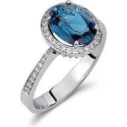 Δαχτυλίδι ροζέτα από λευκό χρυσό 18 καρατίων με μπλε τοπάζι στο κέντρο και διαμάντια  περιμετρικά και 71ff3719627