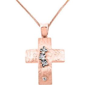 Χειροποίητος βαπτιστικός σταυρός από ροζ χρυσό Κ14 με αλυσίδα STF1389A 7577adc2d87
