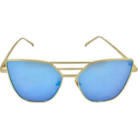 ee0a706b6f Γυναικεία Γυαλιά Ηλίου Καθρέφτης Flat Top Sunglasses Με Χρυσό Μεταλλικό  Σκελετό Και Μπλε Φακό