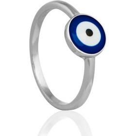 Ασημένιο Δαχτυλίδι με Ματάκι και Μπλε Σμάλτο 88b42325276