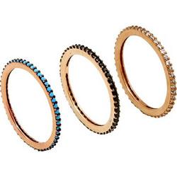 VFJ Aσημένια 3 ολόβερα δαχτυλίδια με ζιργκόν 623ff63458b