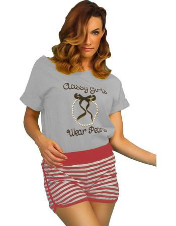 Γυναικεία καλοκαιρινή πυτζάμα γκρι μελανζέ μπλούζα c147ea410aa