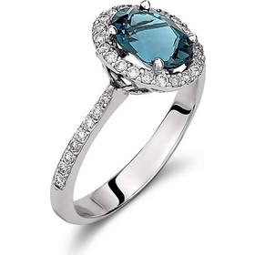 Δαχτυλίδι από λευκό χρυσό 18 καρατίων με london blue τοπάζι και διαμάντια  περιμετρικά και στο πλάι 9e919cd9cfe