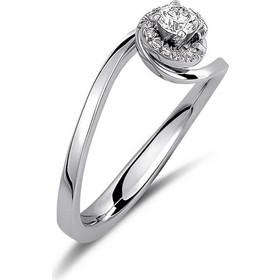 Μονόπετρο δαχτυλίδι φλόγα από λευκό χρυσό 18 καρατίων με ένα κεντρικό  διαμάντι 0.19ct και μικρότερα cb131a48c14
