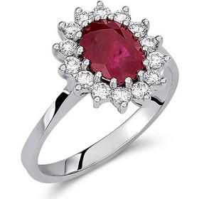 Δαχτυλίδι ροζέτα από λευκό χρυσό 18 καρατίων με ρουμπίνι 1.89ct στο κέντρο  και διαμάντια περιμετρικά 615c76bbf59
