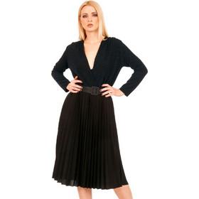 da08938994f5 Μαύρο Midi Φόρεμα με Πλισέ Φούστα και Μπλε Glitter Μαύρο Silia D