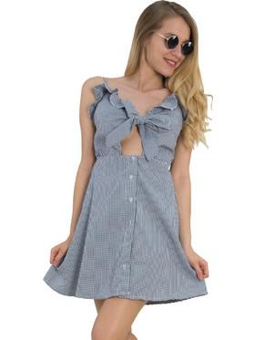 46d4c214fd Γυναικείο κλος φόρεμα καρό άνοιγμα μαύρο 2008495L