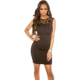 02fdd3400c4c 41743 FS Κομψό μίνι φόρεμα με δαντέλα - μαύρο