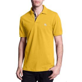 767f07b81033 Burberry Ανδρική Πόλο Polo Μπλούζα Brit με κουμπιά σε Κίτρινο χρώμα, Gorse  Yellow, 39152171