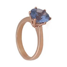 Jt Μονόπετρο δαχτυλίδι με ροζ χρυσό και μπλε ζιργκόν 9mm e102e828433