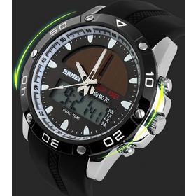 Αθλητικό ρολόι χειρός ηλιακής φόρτισης αδιάβροχο με LED ψηφιακή και  αναλογική ώρα SKMEI 1064 SILVER fbdd4b9cc88