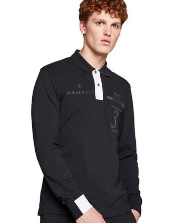 La Martina ανδρική μπλούζα πόλο με μακρύ μανίκι Floyd - MMPM31-PK001 - Μαύρο bdb4433f924