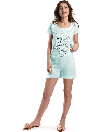 Ogham βεραμάν γυναικεία καλοκαιρινή πυτζάμα ριγέ μπλούζα   μονόχρωμο shorts  2536 1d5db5562b0