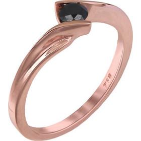 Ροζ gold μονόπετρο με μαύρο διαμάντι Κ18 025342 025342 Χρυσός 18 Καράτια 1ea11c2fc87