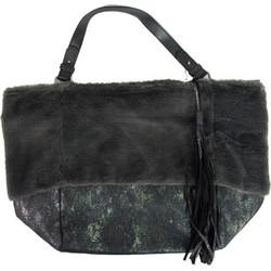 295706b9447 Γυναικεία γκρι γούνινη τσάντα ώμου κρόκο σχέδιο PF567P