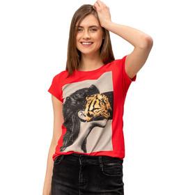 f4b75af65c50 T-shirt με στάμπα και στρας - Κόκκινο