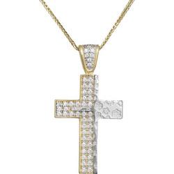 Βαπτιστικοί Σταυροί με Αλυσίδα Δίχρωμος σταυρός με αλυσίδα Κ14 029491C  029491C Γυναικείο Χρυσός 14 Καράτια c8365f9dbc6