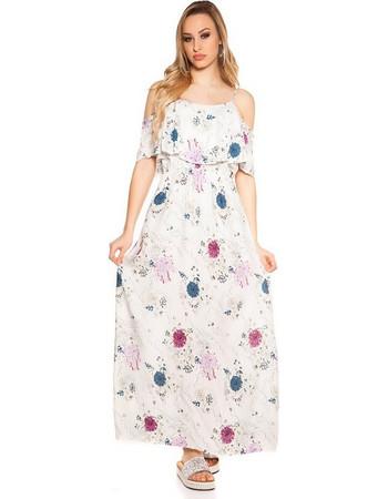 41884 FS Δροσερό μάξι φόρεμα με λουλούδια - λευκό 56bcb2f7c9f