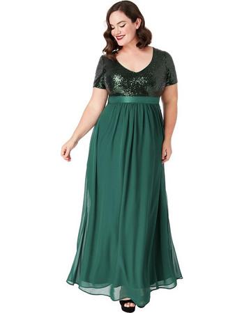 plus size αέρινο paillette   chiffon maxi φόρεμα σε forest πράσινο 21e2cebd49e