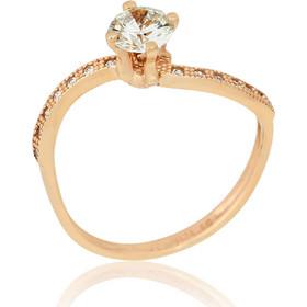 Δαχτυλίδι Μονόπετρο Ροζ Χρυσό 14 Καρατίων (Κ14) με Ζιργκόν 022681 5db13d0fe7c