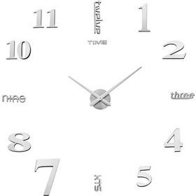 3D Ασημί ρολόι τοίχου με αυτοκόλλητους αριθμούς και γράμματα καθρέφτες - 60  εκ 26c5cbdfd8b