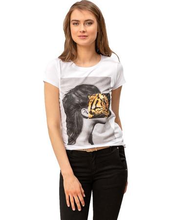e9e43812b0e5 T-shirt με στάμπα και στρας - Λευκό