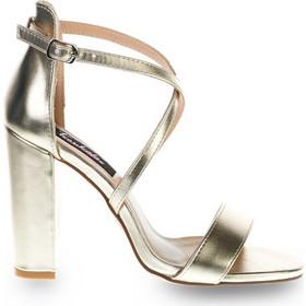 19777471dd Πέδιλα χρυσά δερματίνη χιαστί με χοντρό τακούνι 342163gold. Tsoukalas Shoes