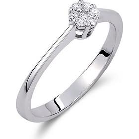 Δαχτυλίδι illusion από λευκό χρυσο 18 καρατίων με ένα κεντρικό και 6 περιμετρικά  διαμάντια που δημιουργούν 4f4ab5f7354