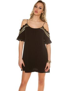 a0c7c34b07 FS Μίνι φόρεμα με κέντημα και πούλιες - μαύρο