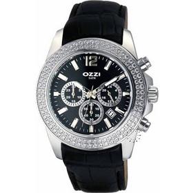 Ozzi Crystal Chronograph Black Leather Strap W08398 41eca1cbd88
