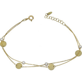 Βραχιόλι χρυσό Κ14 διπλό με μαργαριτάρια 031231 031231 Χρυσός 14 Καράτια e1c47b5f7cd