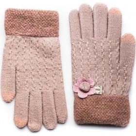 Ροζ Πλεκτά Γάντια Γυναικεία Με Λουλούδι ΠονΠον 58e96da9000