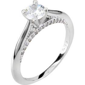 Λευκόχρυσο μονόπετρο δαχτυλίδι Κ14 με ζιργκόν DMN404L-A 79839e3f9ce