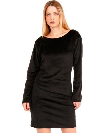2f2543a8a31f Μαύρο Βελούδινο Mini Φόρεμα με Δαντέλα Μαύρο Silia D