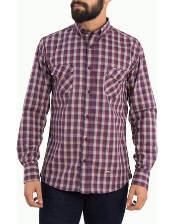 e463381e381a Ανδρικό κόκκινο καρό πουκάμισο με τσεπάκια Ben Tailor 0091