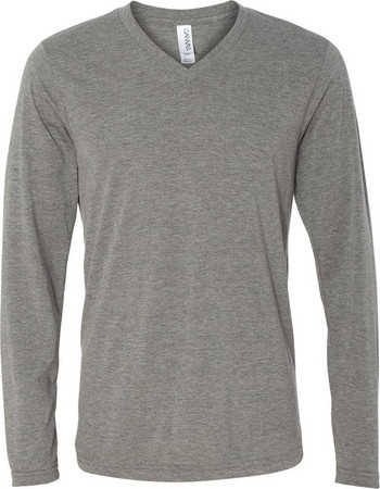 62a8b1e44914 Μακρυμανικο Ανδρικό Μπλουζακι με V Λαιμόκοψη Unisex Triblend LS V-Neck  T-Shirt Grey