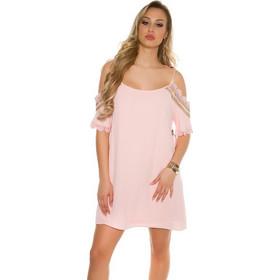 f449192a409b 41736 FS Μίνι φόρεμα με κέντημα και πούλιες - ρόζ