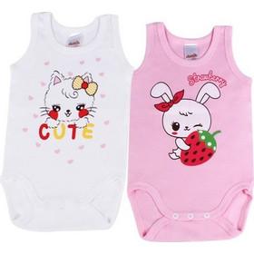 0f3e2185e9d Φανελάκια βρεφικά κοριτσιών Strawberry Minerva 2 τεμάχια (30712) Λευκό-ροζ  30712