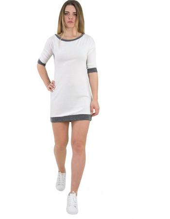 Γυναικείο λευκό φόρεμα με ζακάρ σχέδιο κοντό μανίκι 91098 d6449d41a65