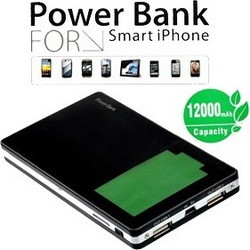 External Power Bank 12000 mAh for Samsung Galaxy S III, HTC, Blackberry, Huawei, iPad 2, iPhone 3GS, iPhone 4, iPhone 5 in Black IP018