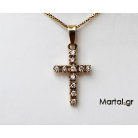 Σταυρός 14Κ χρυσός με ζιργκόν και αλυσίδα cdc41b0e894