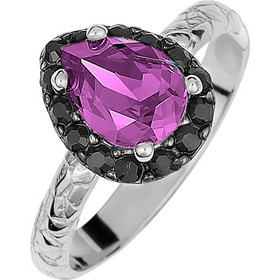Ασημένιο δαχτυλίδι ροζέτα δάκρυ 925 με μώβ πέτρα SWAROVSKI AD-E1213MOVL3 474bff0299b