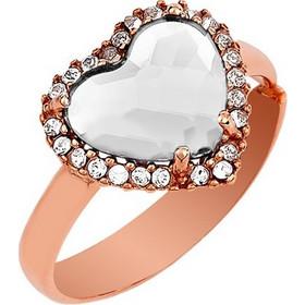 Δαχτυλίδι Συλλογή Love Καρδιά Από Ρόζ Επιχρυσωμένο Ασήμι Με Πέτρες Swarovski b5e0ede965b