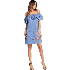 93b85e54bf38 2018 Spring New Style Female Embroidery Comfortable Strapless Sexy Short  Skirts Lotus Sleeve Denim Dress